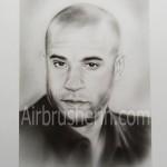 Airbrushportrait Vin Diesel signiert